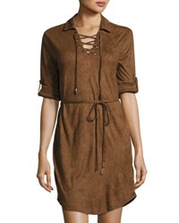 Cirana Faux Suede Lace Up Dress Brown