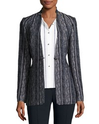 Elie Tahari Bonnie Tweed Blazer Jacket Navy