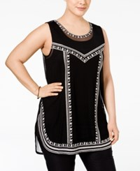 Alfani Plus Size Embroidered Tank Top Only At Macy's Deep Black