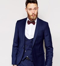 Noose And Monkey Navy Flannel Suit Jacket With Stretch In Super Skinny Fit Blue