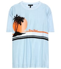 Rag And Bone Printed Silk T Shirt Blue