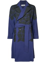 Issey Miyake Geometric Print Trench Coat Women Cotton Polyester 2 Blue