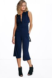 Boohoo Open Back Layer Top Jumpsuit Navy