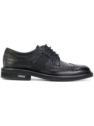 Versace Brogues With Greek Key Side Panels Leather Rubber Black