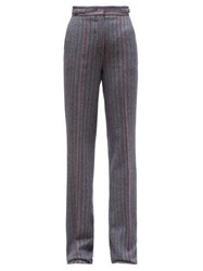 Gabriela Hearst Shipton Herringbone Wool Blend Trousers Grey Multi