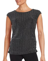 Calvin Klein Cap Sleeve Ruched Glitter Top Black Silver