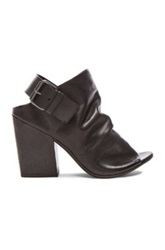 Marsell Marsell Buckled Peep Toe Leather Booties In Black