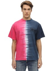 Aries Tie Dye Printed Cotton Jersey T Shirt Multicolor