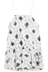 Tibi Ruffled Printed Cotton And Silk Blend Camisole White