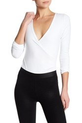 David Lerner Long Sleeve Surplice Neck Bodysuit White
