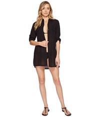 Lauren Ralph Lauren Crushed Camp Shirt Cover Up Black Women's Swimwear