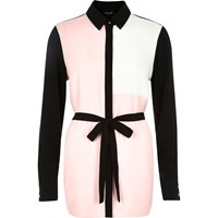 River Island Womens Pink Color Block Belted Shirt