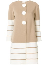 Charlott Striped Knit Coat Nude And Neutrals