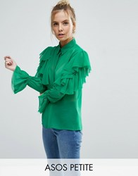 Asos Petite Deconstructed Ruffle Cold Shoulder Blouse With Tie Detail Green