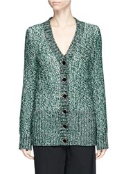 Lanvin Metallic Tweed Effect Cardigan Green
