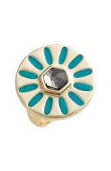 Jules Smith Designs Women's Jules Smith 'Soleil' Gold Plated Statement Ring Yellow Gold Turquoise Smokey