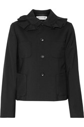 Comme Des Garcons Girl Ruffled Wool Crepe Jacket Black