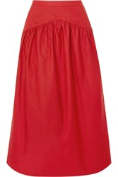 Atlantique Ascoli Cotton And Linen Blend Midi Skirt Red