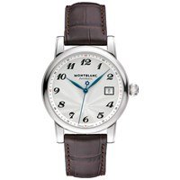 Montblanc 107315 Men's Star Date Automatic Stainless Steel Alligator Strap Watch Brown White