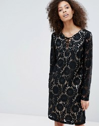 B.Young Long Sleeve Contrast Lace Dress Black