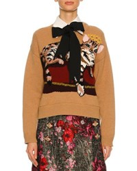 Dolce And Gabbana Knit Sweater W Cat Intarsia Nude