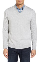 Nordstrom Men's Big And Tall Men's Shop Cotton And Cashmere V Neck Sweater Grey Opal Heather