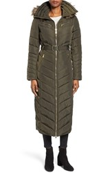 Michael Michael Kors Women's Belted Down And Feather Fill Long Coat With Faux Fur Trim Hood Dark Moss
