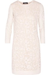 Magaschoni Burnout Silk Blend Mini Dress Cream