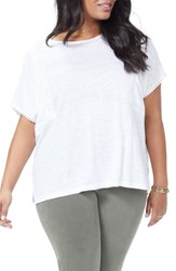 Nydj Plus Size Lace Detail Linen Tee Optic White