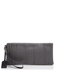 Dkny Calf Leather Clutch Dark Charcoal Black