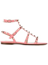Valentino Rockstud Gladiator Sandals Women Leather 38.5 Pink Purple