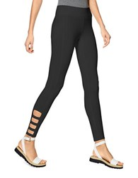 Hue Ankle Detail Cotton Blend Skimmer Leggings Black