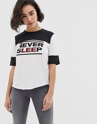 Colourblock Never Sleep Ringer T White