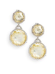 Judith Ripka Eclipse Double Canary Crystal And White Sapphire Drop Earrings Silver