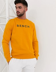 Bench Oversized Sweatshirt With Vintage Font In Golden Yellow