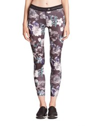 Adidas By Stella Mccartney Run Adizero Floral Print Tights Black Deep Purple