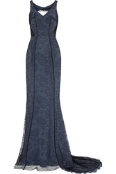 Amanda Wakeley Open Back Lace Gown Blue