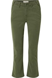 The Great Trouser Nerd Cropped Flared Twill Pants Green