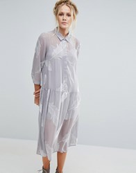 Little White Lies Pookie Feather Print Shirt Dress Grey