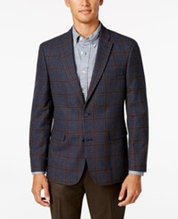 Tommy Hilfiger Men's Slim Fit Blue And Brown Windowpane Sport Coat