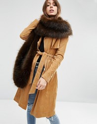 Asos Oversized Faux Fur Scarf In Chocolate Brown