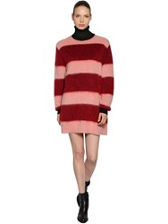 Sportmax Striped Mohair Knit Dress Pink Red