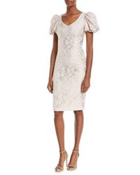 Theia V Neck Puff Sleeve Tissue Weight Cocktail Dress Nude Shimmer