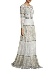 Sachin Babi Sara Open Back Lace Gown Ivory