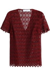 Sandro Scalloped Lace Top Claret