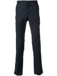 Valentino Tailored Stripe Panel Trousers Polyester Mohair Wool Blue