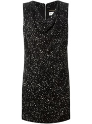 Saint Laurent Splatter Print Shift Dress Black
