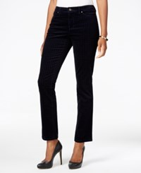 Charter Club Petite Houndstooth Tummy Control Corduroy Pants Only At Macy's Deepest Navy Combo