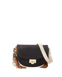 Neiman Marcus Double Tassel Saddle Bag Black
