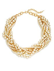 Saks Fifth Avenue Stella Ruby Faux Pearl Collar Necklace Gold White